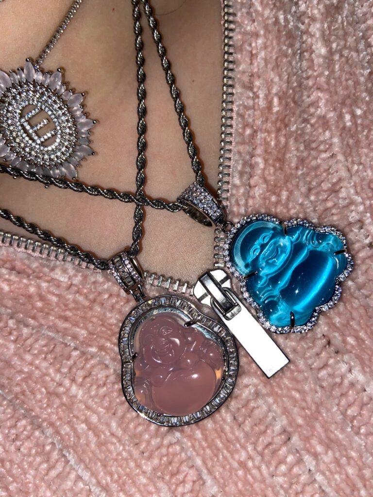 Blue Buddha Pendant Necklace With Tennis Chain photo review